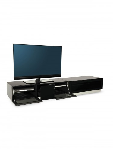 TV Stand Element Modular EMTMOD2100-BLK Black TV Stand with Glass Top
