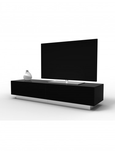 TV Stand Element Modular EMTMOD1700-BLK Black TV Stand with Glass Top