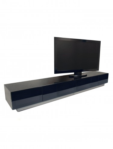 TV Stand Element Modular EMTMOD2500-BLK Black TV Stand with Glass Top