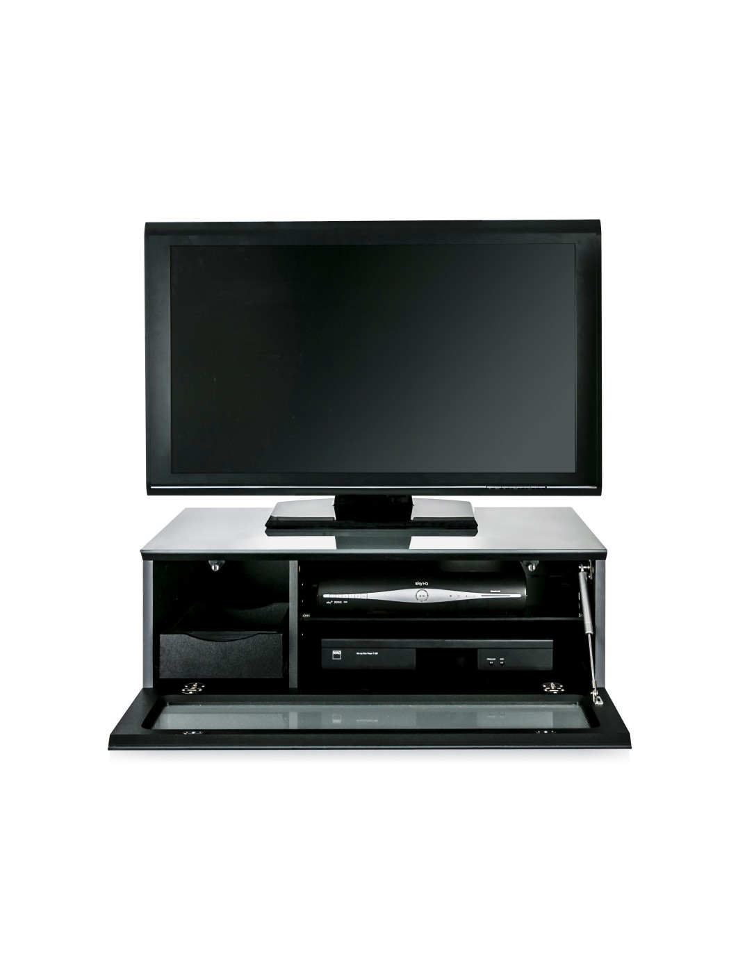 TV Stand Element Modular EMTMOD850-GRY Grey TV Stand with Glass Top