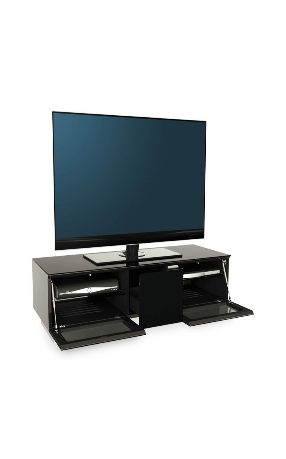 TV Stand Element Modular EMTMOD1250-BLK Black TV Stand with Glass Top
