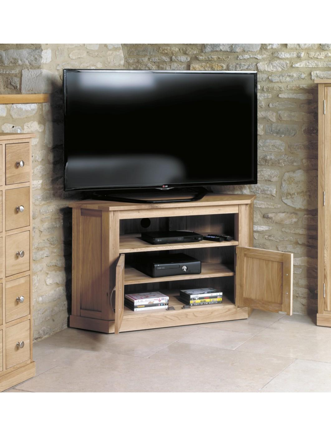 view images baumhaus mobel oak corner tv cabinet cor c mounts