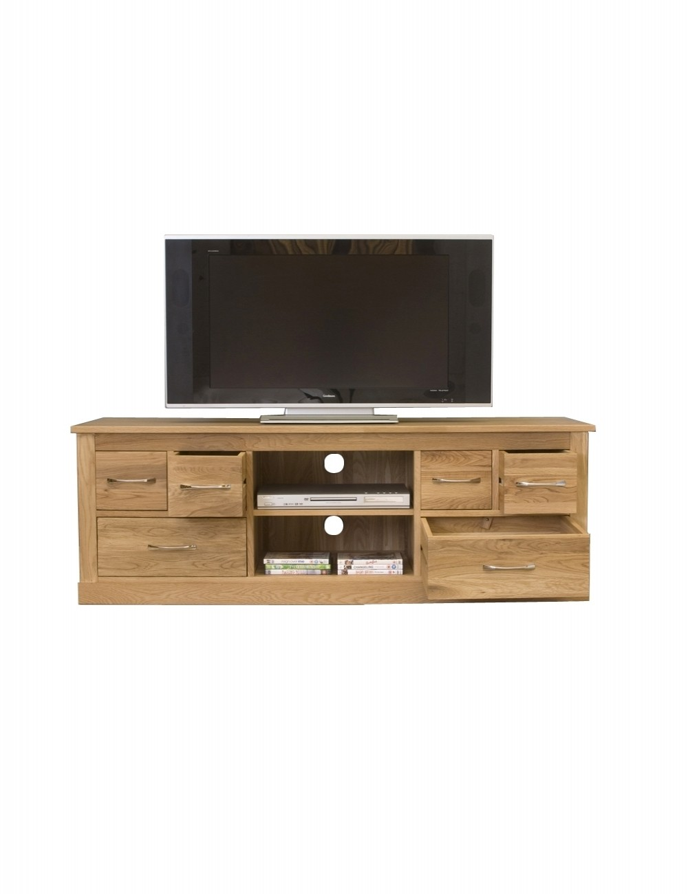 baumhaus mobel oak widescreen tv cabinet cor09b enlarged view