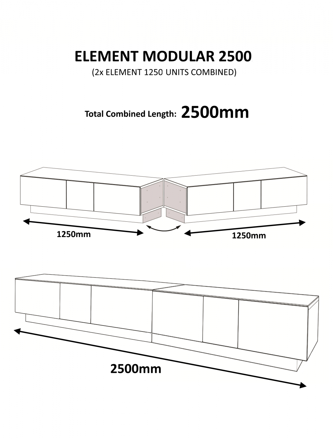 Alphason EMTMOD2500-GRY Element Modular TV Stand