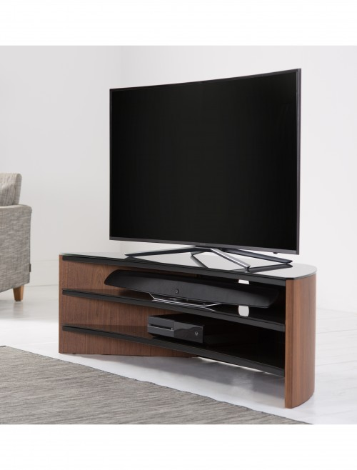 Alphason Finewoods Curve FW1400C-W TV Stand in Walnut