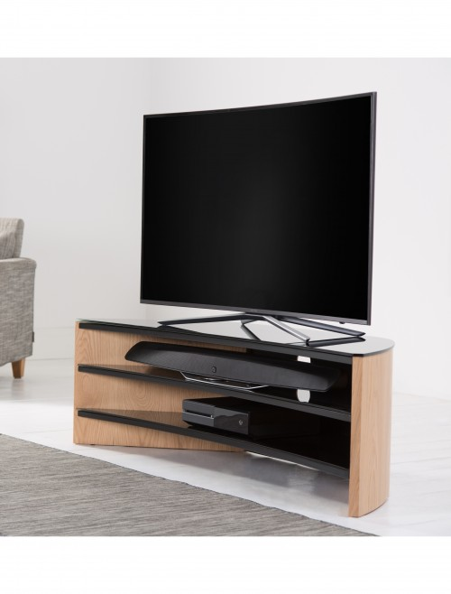 Alphason Finewoods Curve FW1400C-LO TV Stand in Light Oak