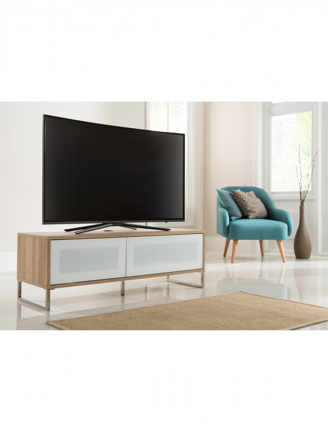 Alphason Helium 1200mm TV Stand ADHE1200-LO in Sawn Oak & White