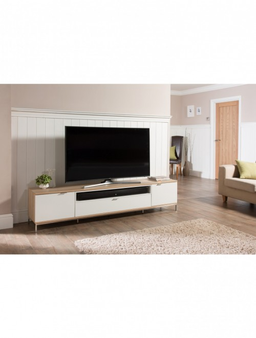 TV Stand Chaplin 2000mm White and Light Oak TV Unit ADCH2000-WHT