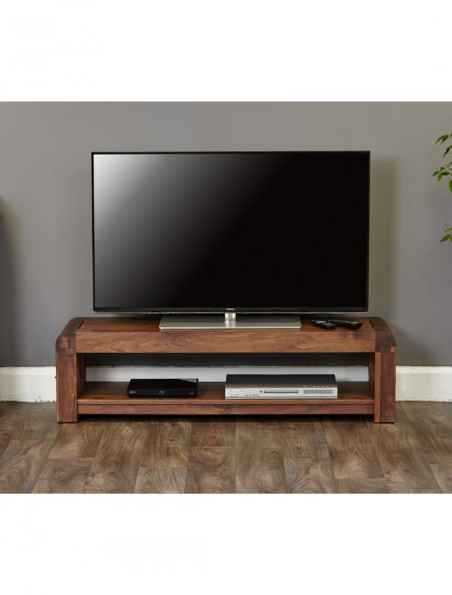 Low Widescreen TV Stand Baumhaus Shiro Walnut CDR09A