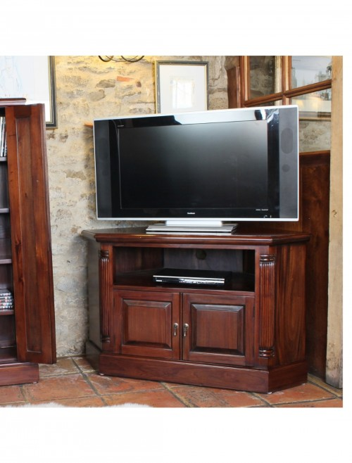 tv stand corner baumhaus la roque mahogany imr09b