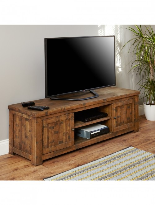 Widescreen TV Stand Baumhaus Heyford Rough Sawn Oak CRS09B