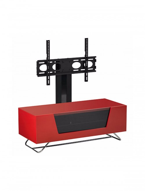 Alphason CRO2-1200BKT-RE Chromium TV Stand inc TV Bracket - Red