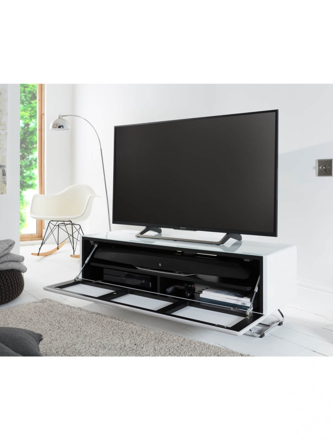 TV Stands - Chromium Concept 1200mm White TV Stand CRO2-1200CPT-WH