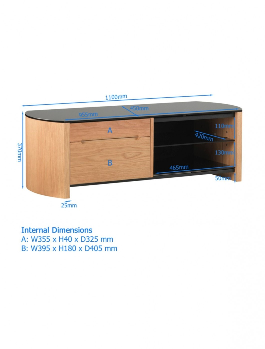Alphason FW1100CB-BLK Finewoods TV Stand