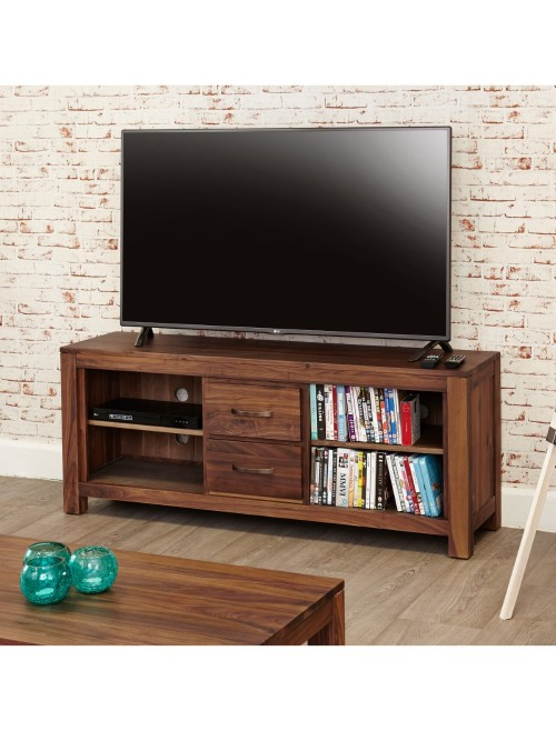 Walnut Wide Screen TV Stand with 4 Shelves and 2 Drawers TV Cabinet
