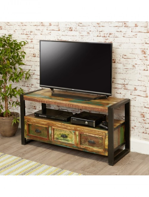 TV Cabinet Reclaimed Wood with 3 Drawers TV Unit Urban Chic Style