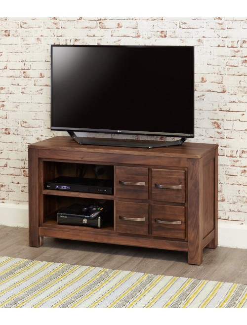 TV Cabinet Walnut Wide Screen TV Unit with 4 Drawers and 2 Shelves