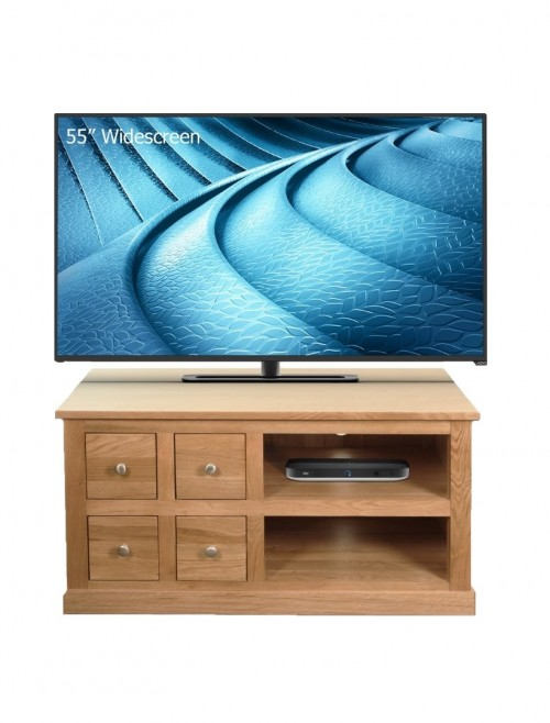 Oak TV Stand with 4 Drawers and 2 Shelves TV Cabinet