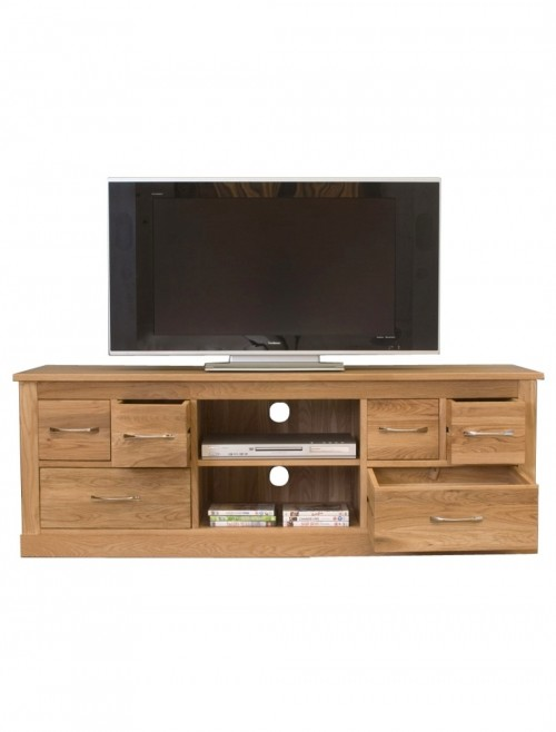 oak wide screen tv stand with 6 drawers and 2 shelves tv cabinet