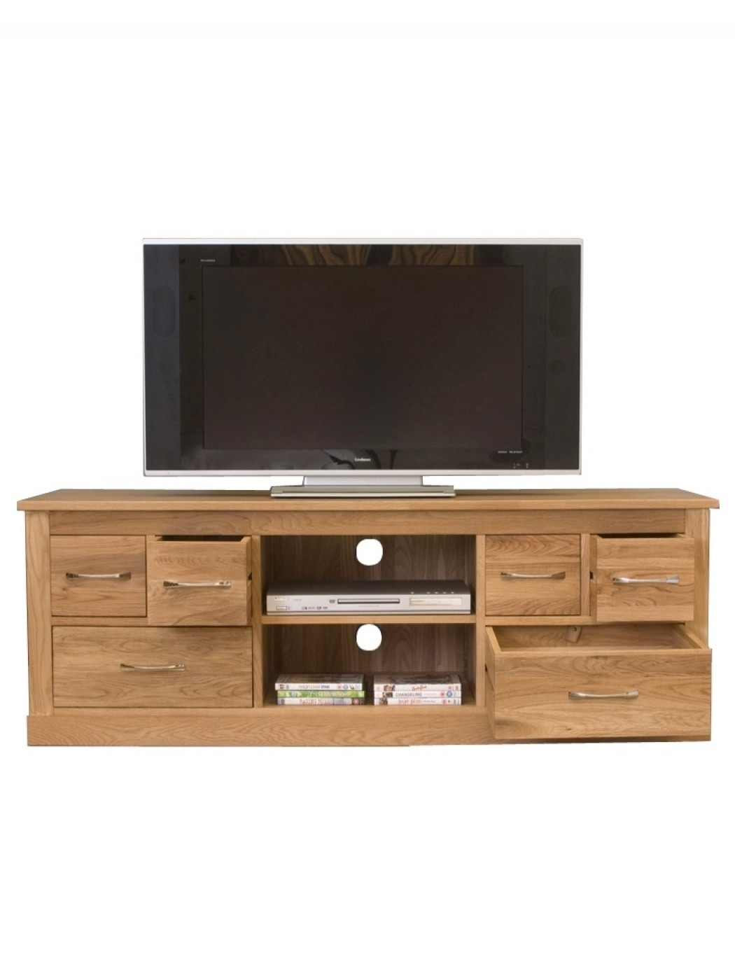 Terrific Tv Cabinet Solid Oak Wide Screen Tv Unit With 6 Drawers Download Free Architecture Designs Grimeyleaguecom