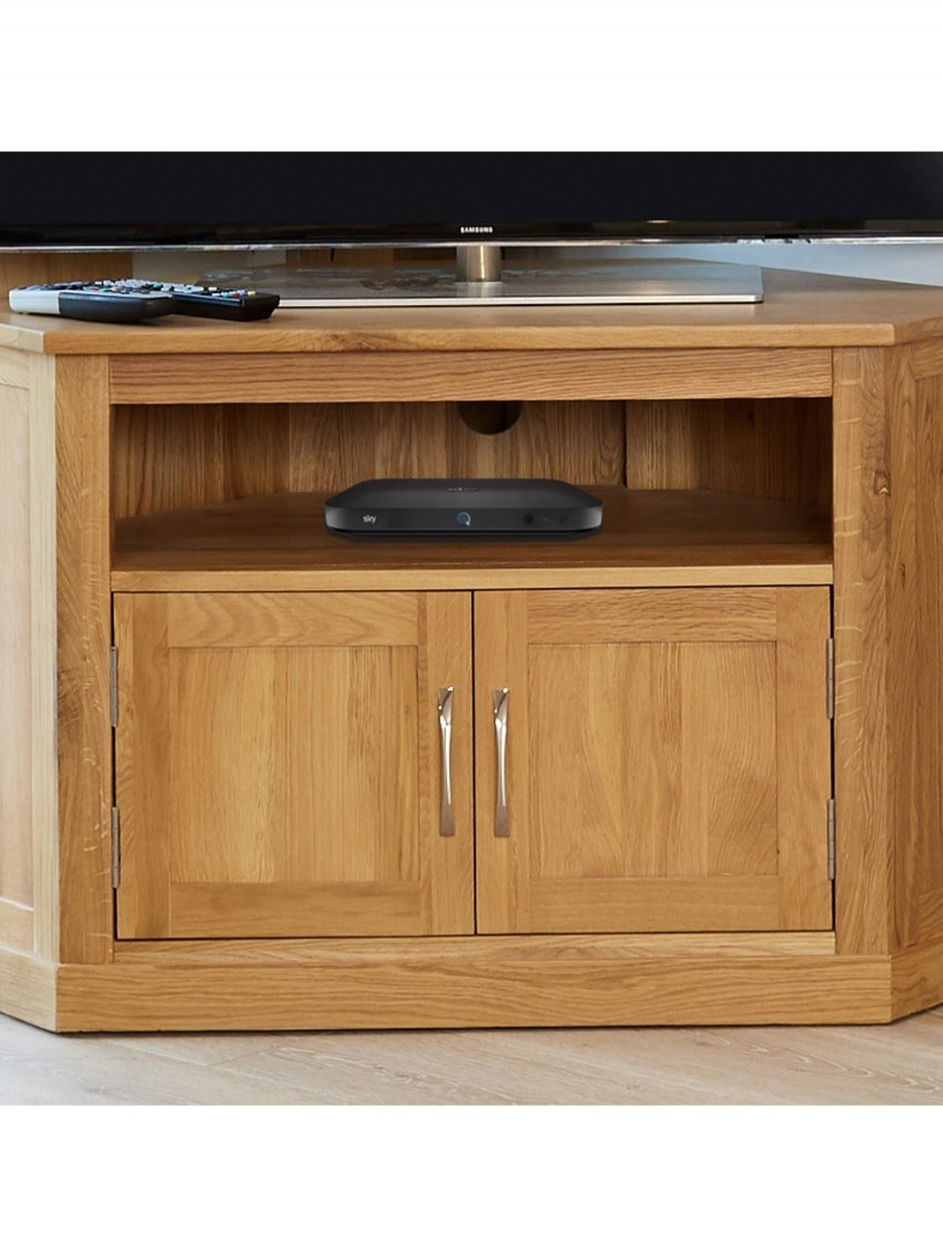 oak tv stand corner with 2 doors tv cabinet media unit enlarged view