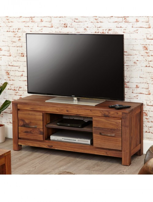 Solid Walnut Low Widescreen Television Cabinet TV Media Unit with 2 Drawers Dark Wood Finish