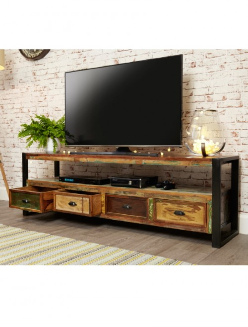 Reclaimed Wood Painted Large Open Widescreen TV Media Cabinet Unit with 4 Drawers