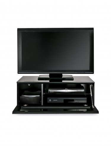 TV Stand Element Modular EMTMOD850-BLK Black TV Stand with Glass Top
